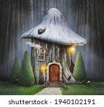 Fairy Tree House With Mushroom...