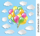 multicolored glossy balloons... | Shutterstock .eps vector #194010935