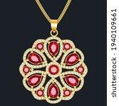 illustration of a gold pendant...   Shutterstock .eps vector #1940109661