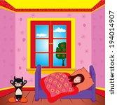 girl sleeping in her bedroom   Shutterstock .eps vector #194014907