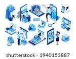 isometric boy and girl...   Shutterstock .eps vector #1940153887
