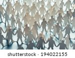 paper cut figures connected to... | Shutterstock . vector #194022155