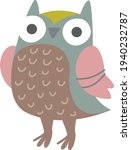 Clipart Cute Funny Gray Owl....