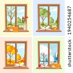 windows with different seasons... | Shutterstock .eps vector #1940254687