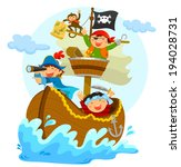 happy pirates sailing in their... | Shutterstock .eps vector #194028731