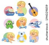 vector illustration of baby boy ... | Shutterstock .eps vector #194029859