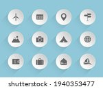 travel vector icons on round...