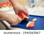 Hands Of Woman Cut A Watermelon ...