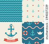 Navy vector seamless patterns set: rope, waves, anchors, hearts. Vector illustration.  - stock vector
