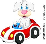 dog cartoon driving car  | Shutterstock .eps vector #194039639