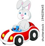 rabbit cartoon driving car  | Shutterstock .eps vector #194039645