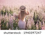 Young Blonde Woman In Straw Hat ...