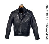 black leather biker jacket | Shutterstock . vector #194039789