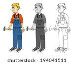 graphic of a cartoon plumber ... | Shutterstock .eps vector #194041511