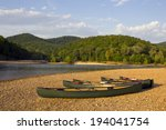 Canoes on the bank of the Buffalo River, Arkansas