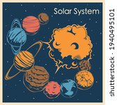 planets of the solar system in...   Shutterstock .eps vector #1940495101
