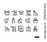 pet salon line icon set. pet... | Shutterstock .eps vector #1940541301