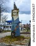 Small photo of Zdolbuniv. Rivne region. Ukraine. March 2021.Monument to Stepan Bandera. Stepan Bandera is a Ukrainian politician, a fighter for Ukraine's independence in the twentieth century.