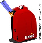 red  backpack with tennis...   Shutterstock .eps vector #1940625271
