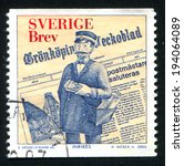 Small photo of SWEDEN - CIRCA 2002: stamp printed by Sweden, shows Newspaper and fictitious Postmaster of Gronkoping, circa 2002