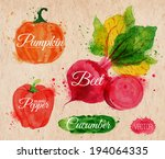 Vegetables set drawn watercolor blots and stains with a spray pumpkin, beet, pepper, cucumber on kraft paper
