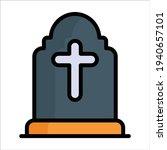 gravestone  cross flat line icon | Shutterstock .eps vector #1940657101