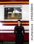 Fashion Asian Woman Wear Black...