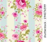 roses  floral wallpaper ... | Shutterstock .eps vector #194076599