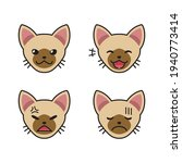 set of brown cat faces showing... | Shutterstock .eps vector #1940773414