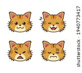 set of cute brown cat faces... | Shutterstock .eps vector #1940773417