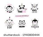 doodle animals vector set. owl  ... | Shutterstock .eps vector #1940800444