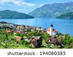 lucerne lake by ruetli ... | Shutterstock . vector #194080385