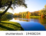 Autumn Landscape Of Lake And...