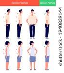 correct incorrect postures.... | Shutterstock .eps vector #1940839144
