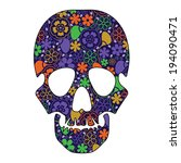 floral skull isolated on white | Shutterstock .eps vector #194090471