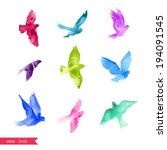 watercolor birds. | Shutterstock .eps vector #194091545