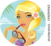 cute blonde on vacation | Shutterstock .eps vector #194094965