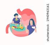 flat illustration of man eat... | Shutterstock .eps vector #1940963161