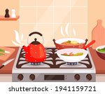 kitchen cooking. boiling in... | Shutterstock .eps vector #1941159721