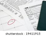 income tax return with calendar ... | Shutterstock . vector #19411915