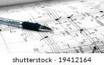 architectural plans and pen | Shutterstock . vector #19412164