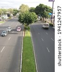 Small photo of MEXICO CITY, MEXICO, SEPTEMBER 5, 2020: Aerial view of an avenue with a median and cars in both circulation senses