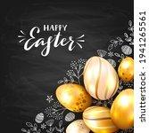 golden easter eggs on black...   Shutterstock . vector #1941265561