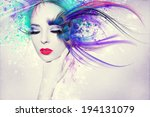 colorful artwork with beautiful ... | Shutterstock . vector #194131079