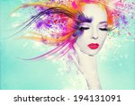 colorful artwork with beautiful ... | Shutterstock . vector #194131091