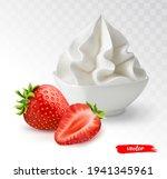 white bowl of whipped cream...   Shutterstock .eps vector #1941345961