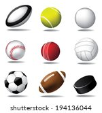 sports ball icon collection | Shutterstock .eps vector #194136044
