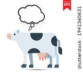 cute cartoon cow with thought...