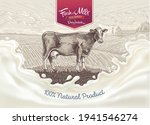 cow  drawing in a graphic style ... | Shutterstock .eps vector #1941546274
