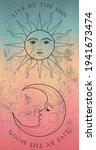 retro mystic sun and moon print ... | Shutterstock .eps vector #1941673474